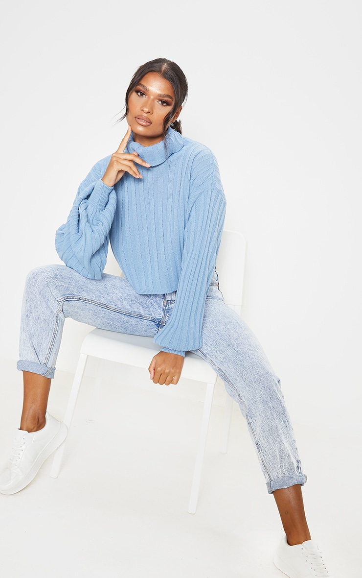 Dusty Blue Balloon Sleeve Roll Neck Ribbed Sweater 3