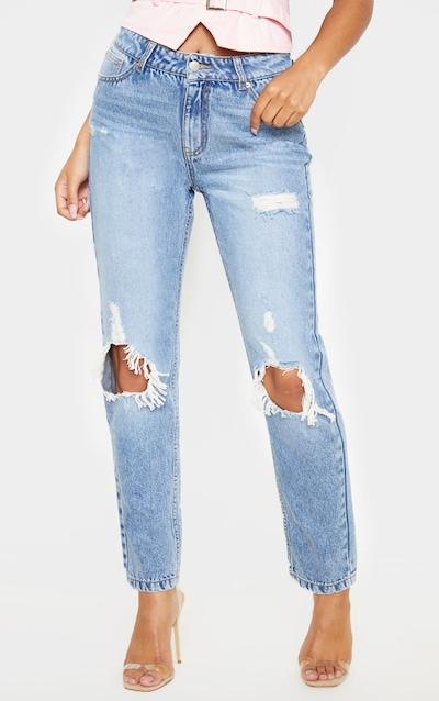 Mid Wash Distressed Knee Rip Straight Leg Jeans
