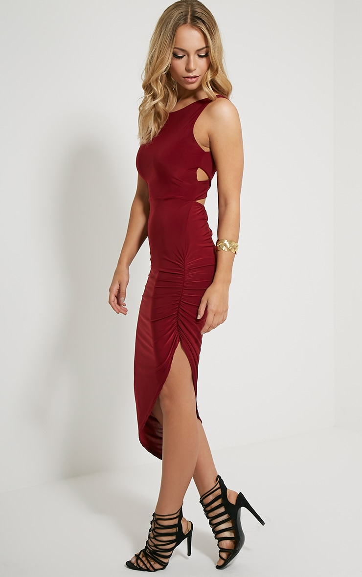 Carmen Burgundy Cross Back Ruched Side Midi Dress 1