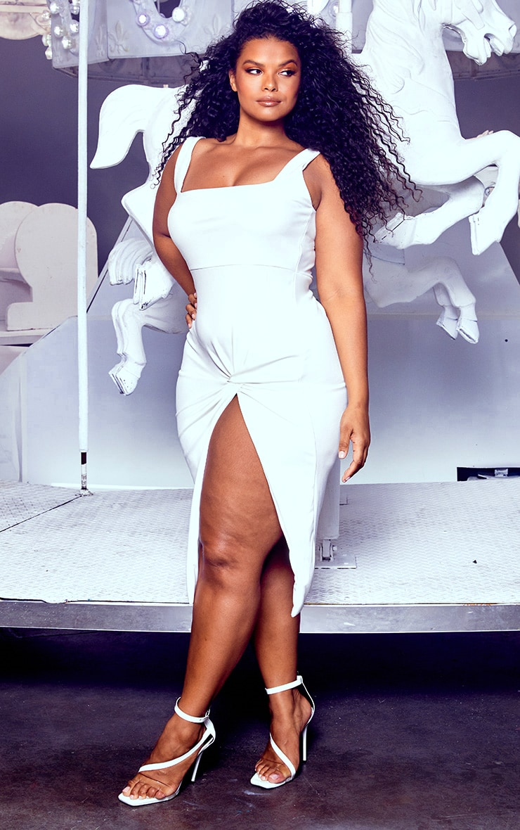 Plus White Twist Extreme Split Midi Dress 4