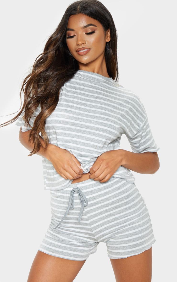 586e4b3215 Grey Jersey Stripe T-Shirt And Short Pj Set