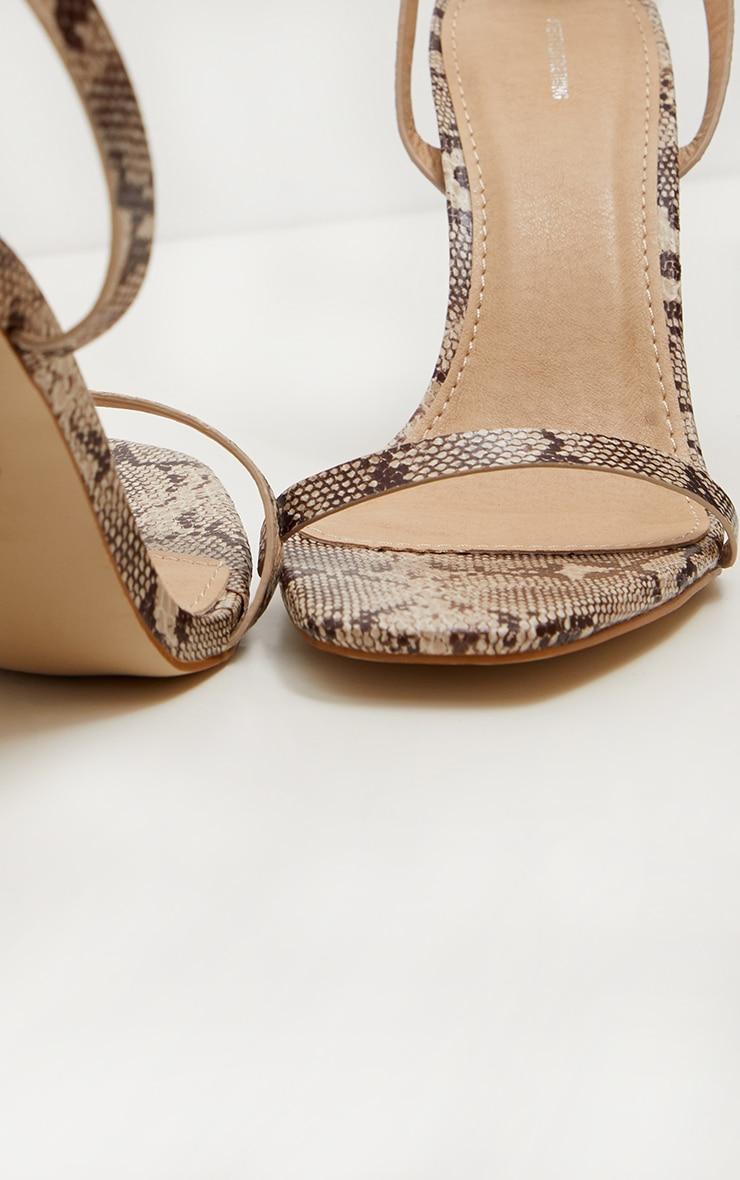c21d49812c495 Snake Square Toe Block Heel Sandal | PrettyLittleThing