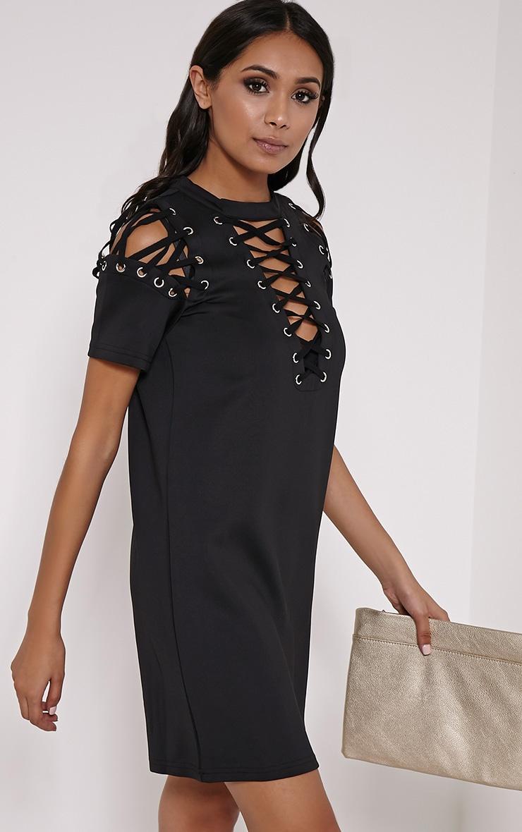 Rowan Black Scuba Lace Up Shift Dress 4