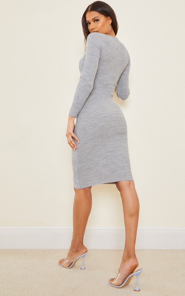 Grey V Neck Knitted Midi Dress 3