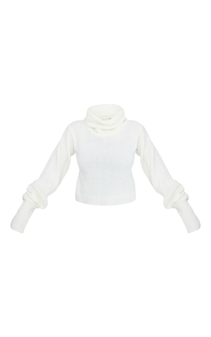 Cream Roll Neck Cropped Jumper 3