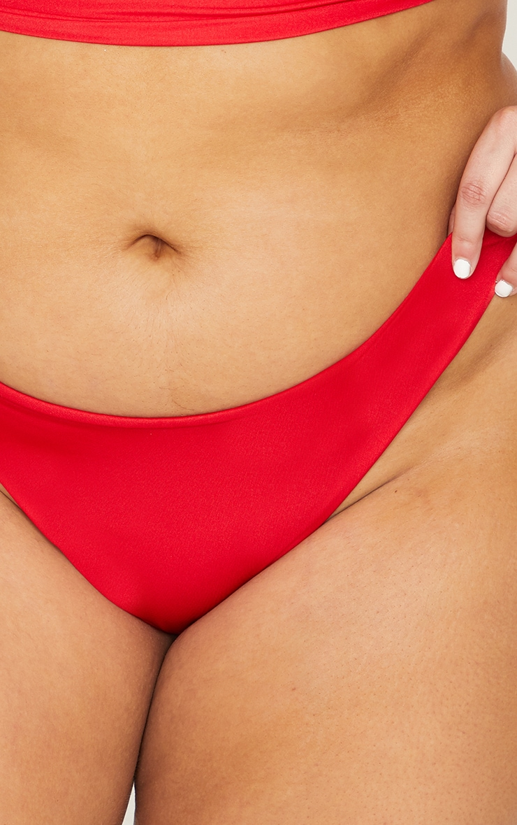 Plus Red Mix & Match Super High Leg Brazilian Bikini Bottom 6