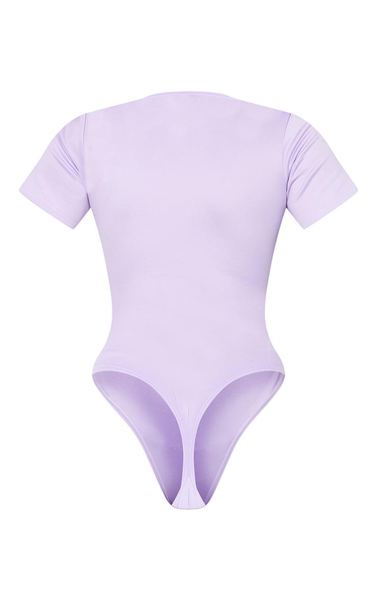 Lilac Bonded Scuba Zip Up Short Sleeve Bodysuit 6