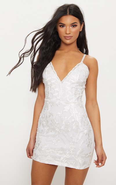 White Embroidered Lace Detail Plunge Bodycon Dress