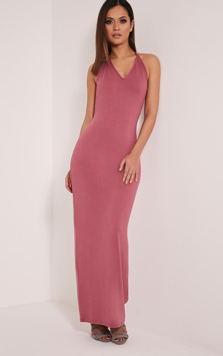 Basic Rose T Bar Back Maxi Dress 3