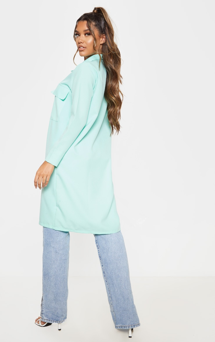 Mint Pocket Detail Longline Shirt 2