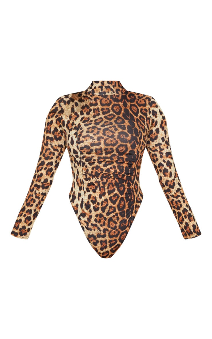 Brown Animal Print Ruched Long Sleeve Bodysuit 3