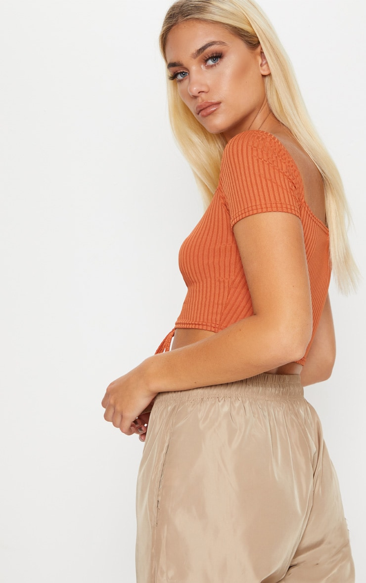 Burnt Orange Ribbed Tie Detail Crop Top 2