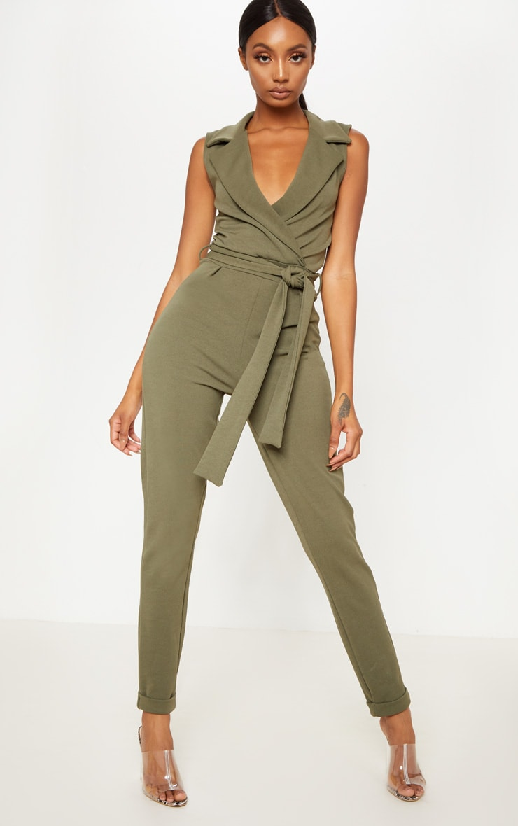 Khaki Collar Tie Front Sleeveless Jumpsuit