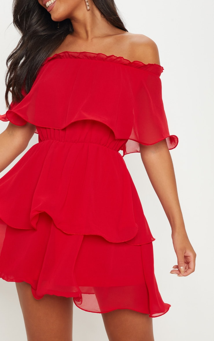 Red Chiffon Bardot Ruffle Tiered Dress 5