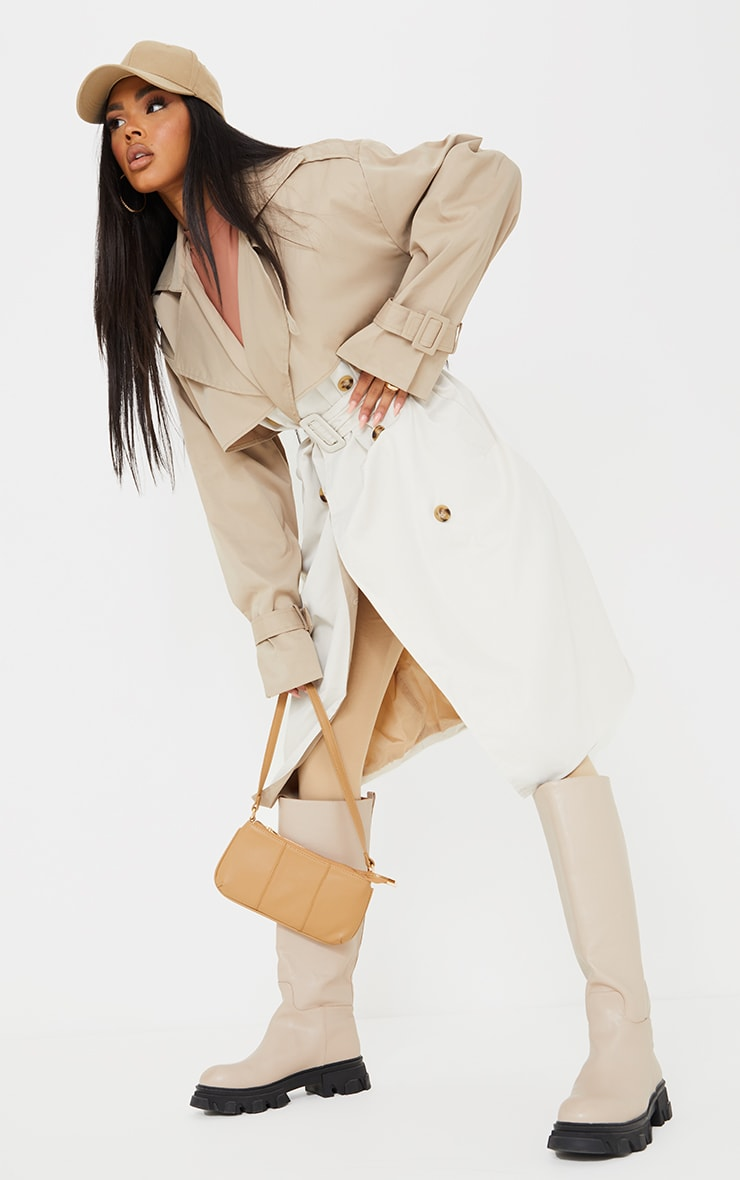 Cream Contrast Oversized Belted Midi Trench 1