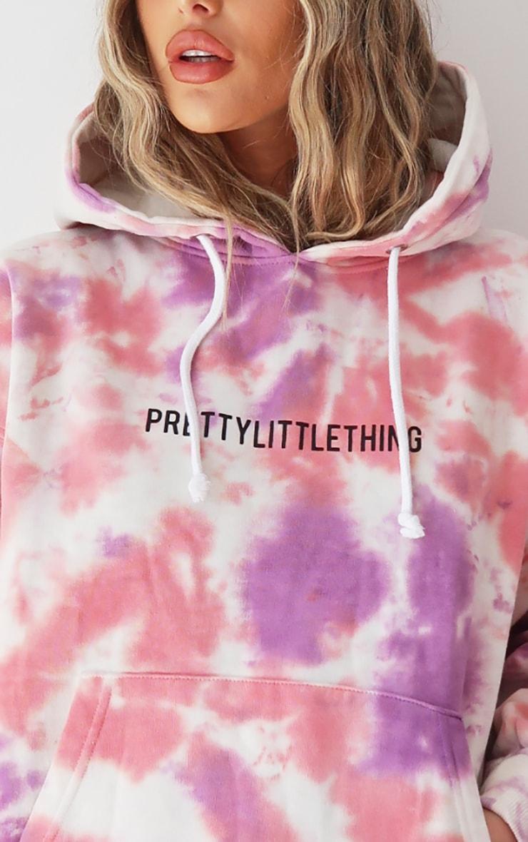 PRETTYLITTLETHING Pink Oversized Tie Dye Hoodie 4
