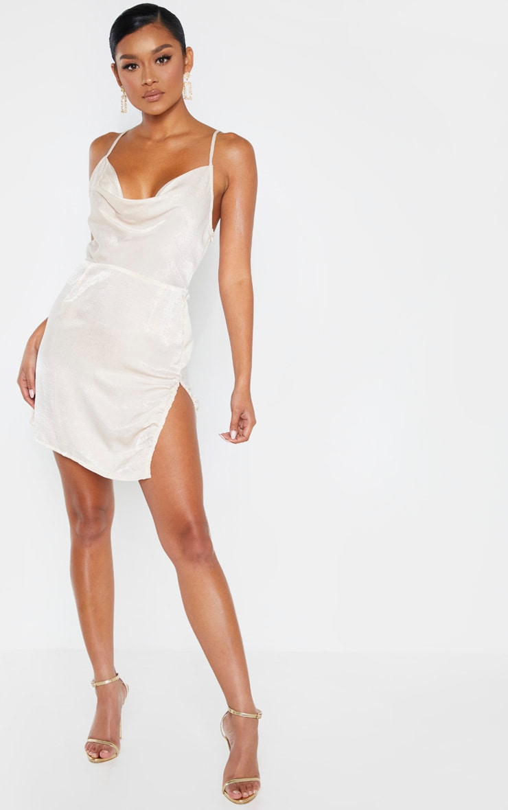 Champagne Hammered Satin Cowl Ruched Split Bodycon Dress