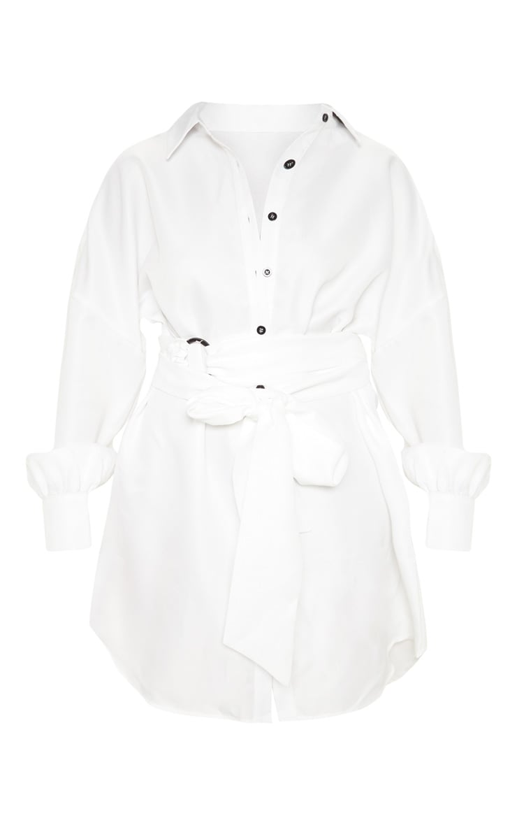 White Belted Tie Shirt Dress 3
