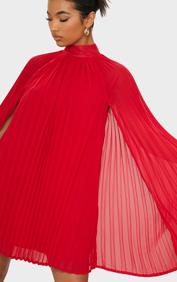 Red Pleated Cape High Neck Shift Dress 4