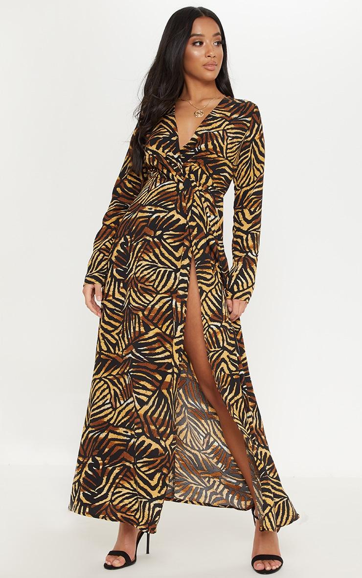 Petite Brown Tiger Print Twist Front Maxi Dress 4
