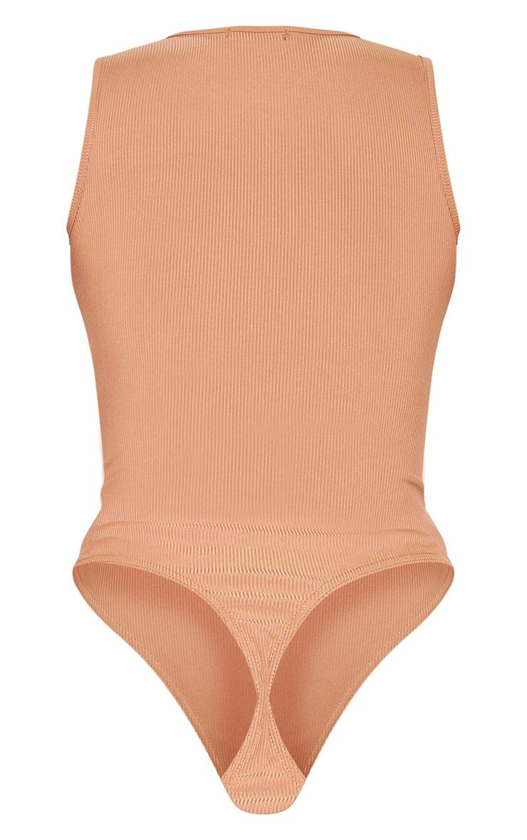 Sand Rib V Neck Sleeveless Bodysuit 4