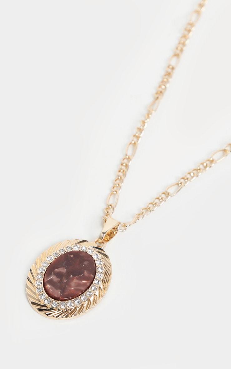 Gold Brown Gemstone Pendant Necklace 3