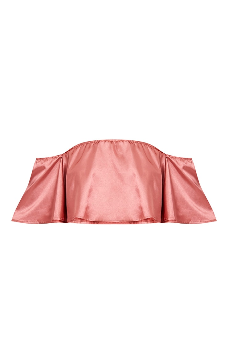 Nori top court bardot rose en satin 3
