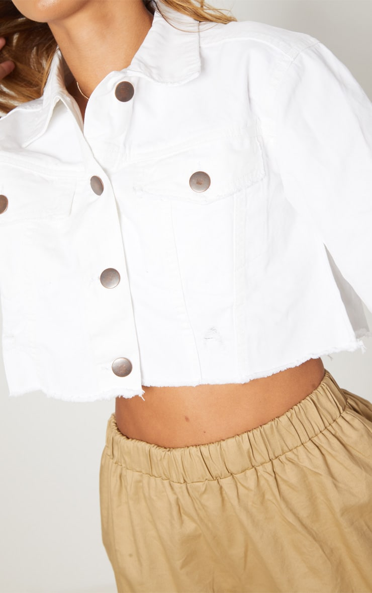 Petite White Raw Edge Cropped Denim Jacket 5