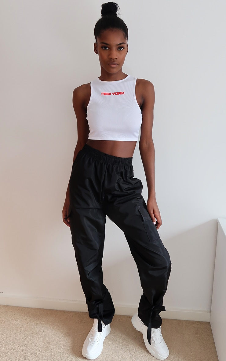 White New York Printed Rib Crop Top 3