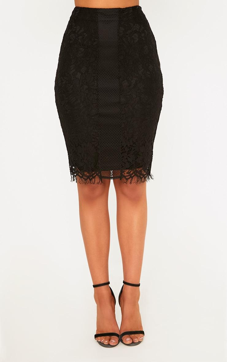 Daiana Black Fishnet Panel Lace Midi Skirt  2