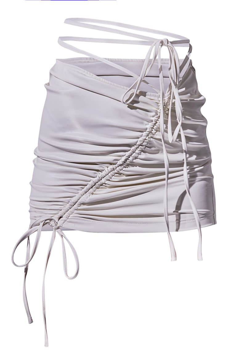 Cream Faux Leather Ruched Asymmetric Tie Waist Mini Skirt 5