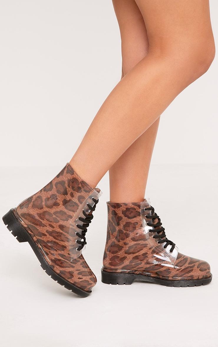 Jaslene Tan Leopard Lace Up Rain Boots 3