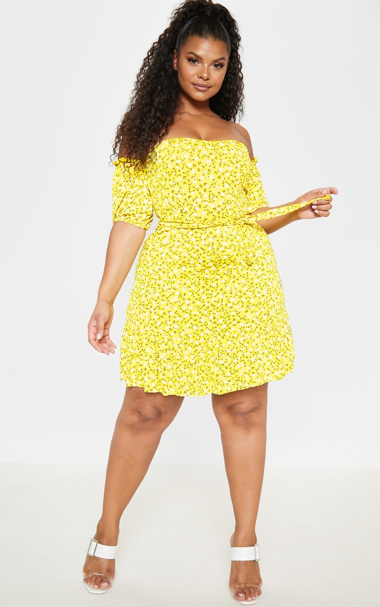 Plus Yellow Ditsy Print Bardot Frill Hem Skater Dress  4