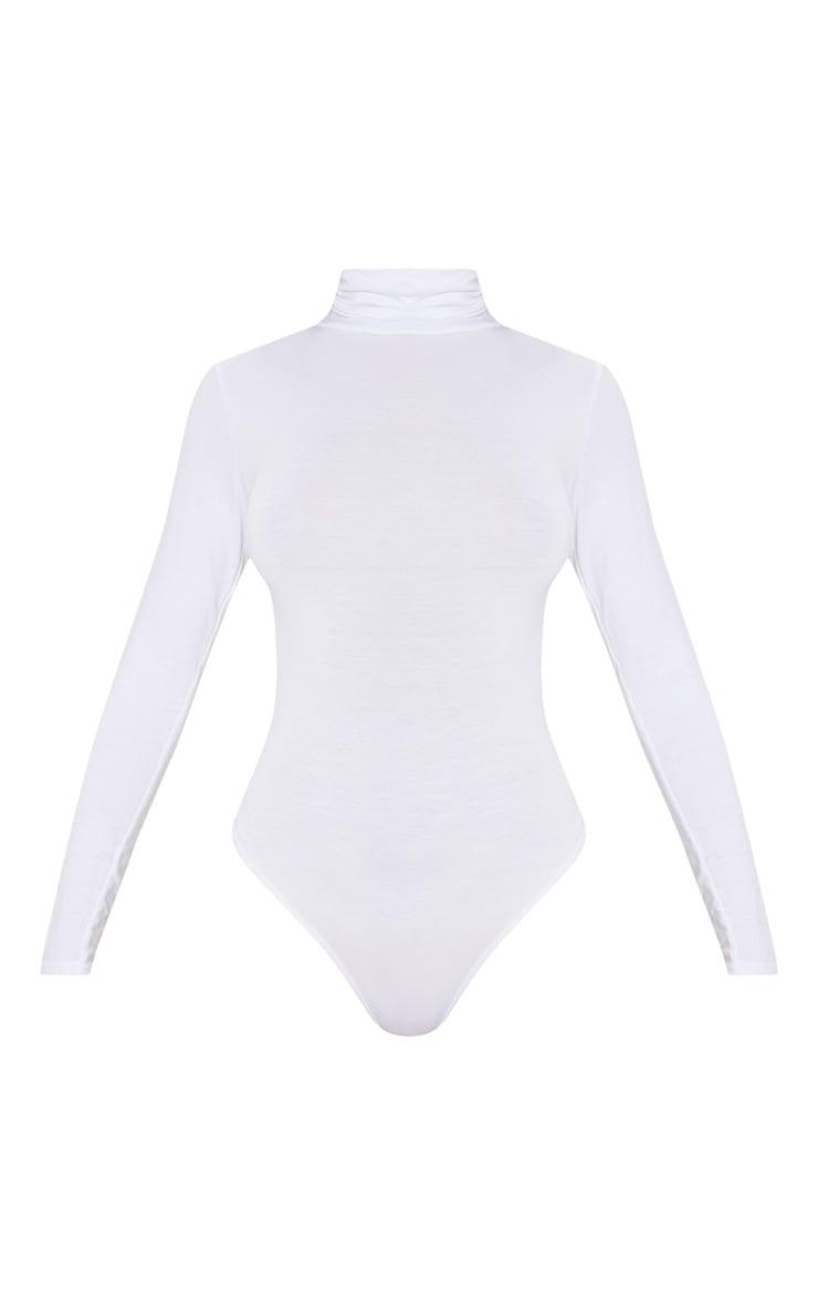 Basic White Cotton Blend Roll Neck Bodysuit 3