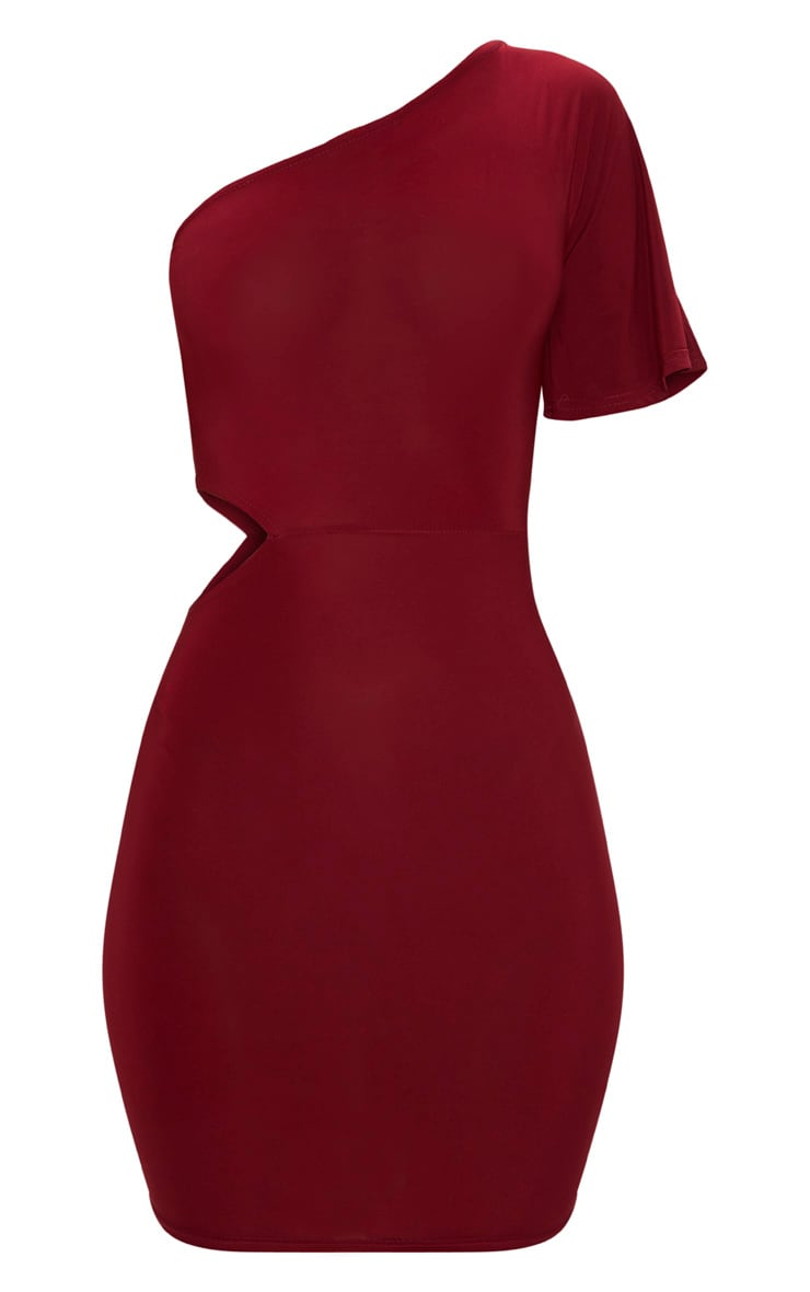 Burgundy One Shoulder Cut Out Side Bodycon Dress 3