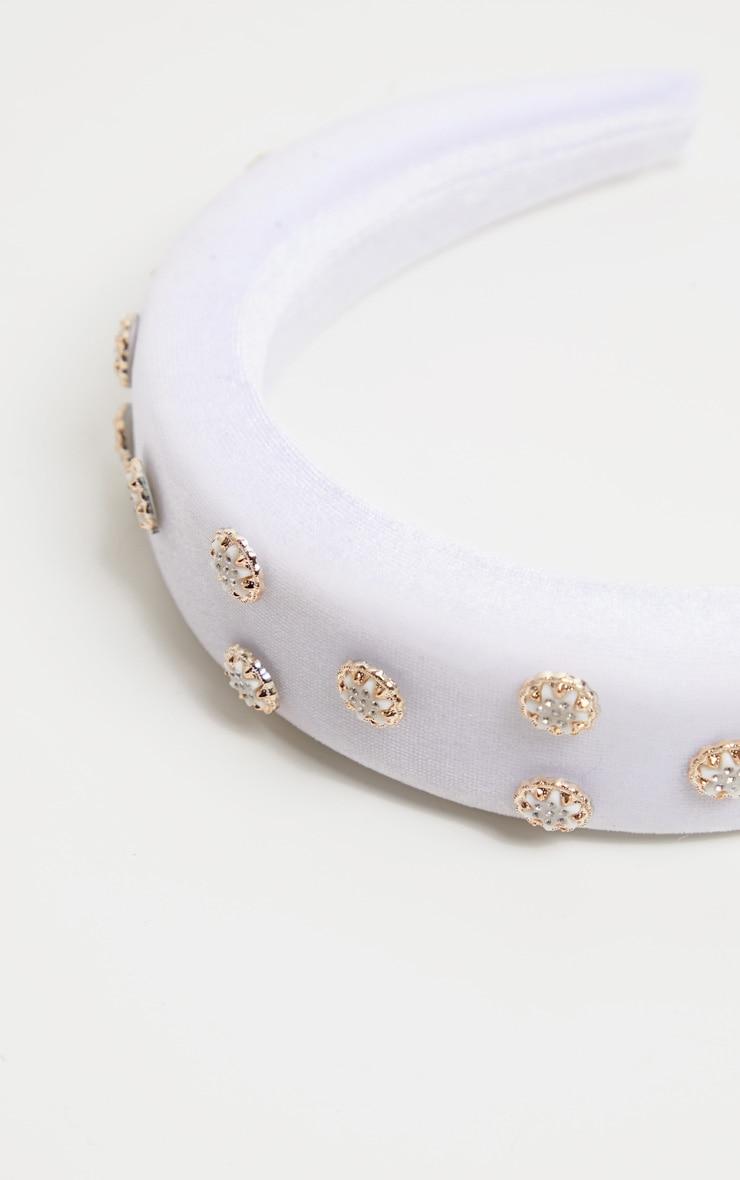 White Embellished Alice Headband 3
