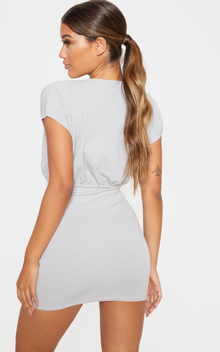 Grey Tie Waist Wrap Detail Bodycon Dress 2