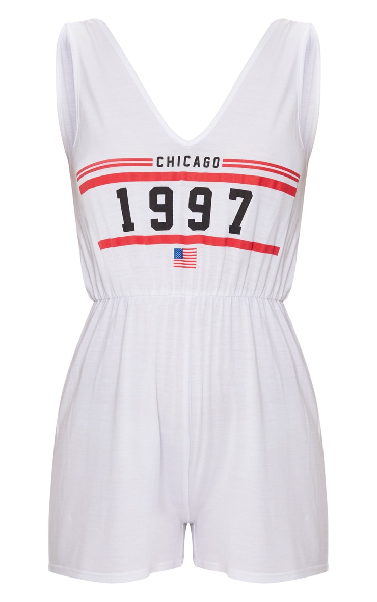 White Chicago Sleeveless Slouch Playsuit 3