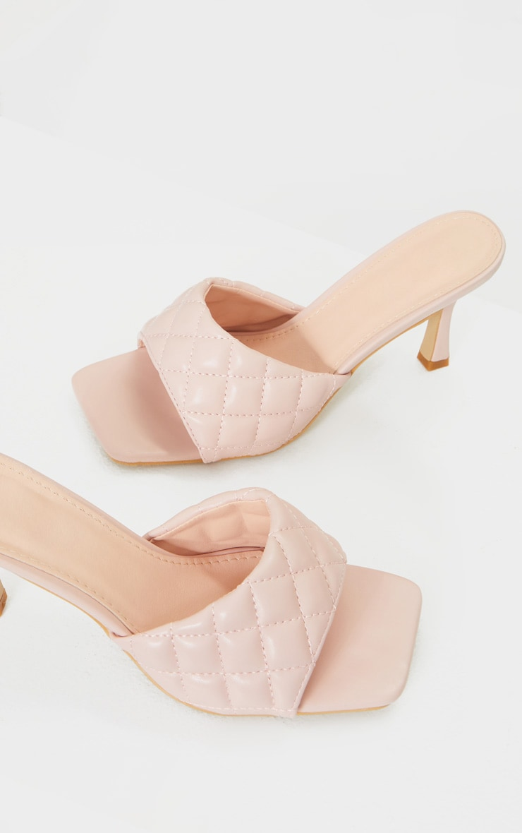 Pale Pink Quilted Square Toe Low Heel Mule 4