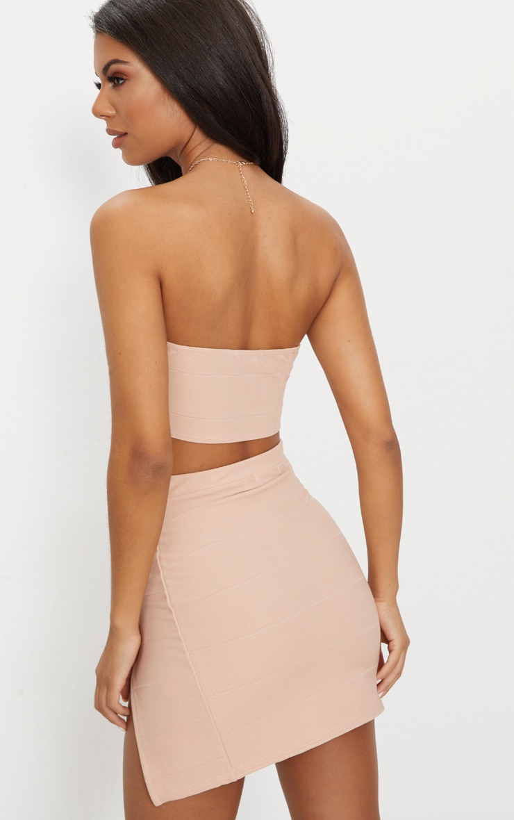 Nude Bandage Split Mini Skirt  2