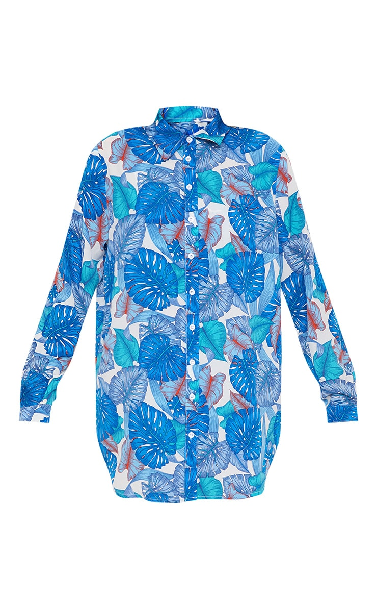 Blue Palm Print Oversized Beach Shirt  3