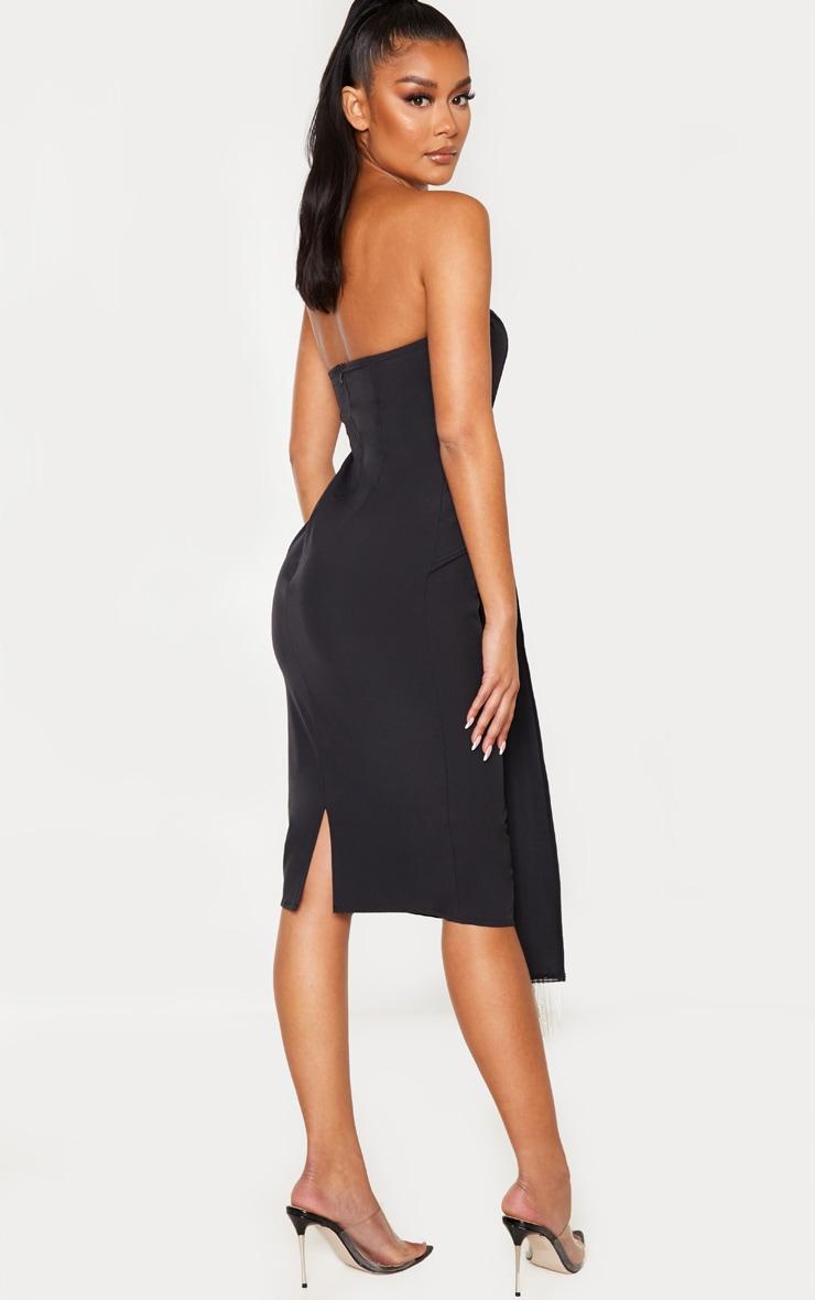 Black Jewelled Tassel Bandeau Drape Midi Dress 2
