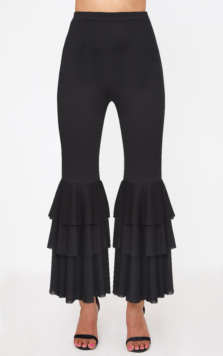 Black Layered Frill Flare Trousers 2