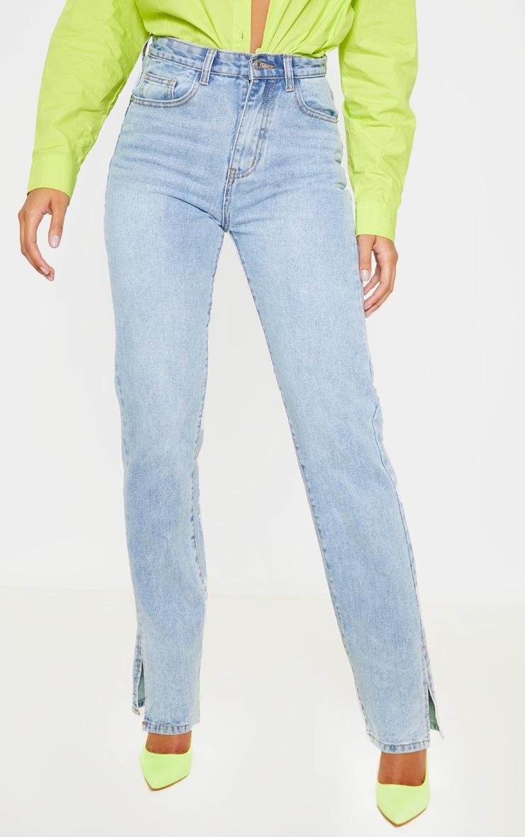 Light Wash Split Hem Jeans 2