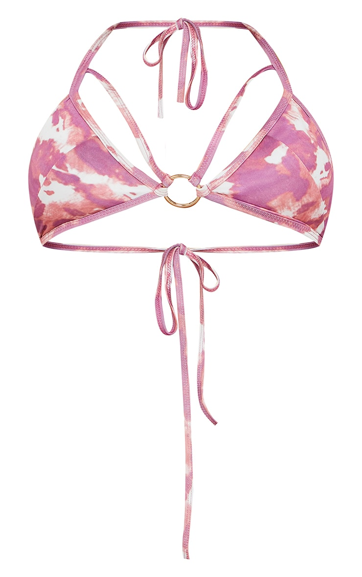 Lilac Cow Print Triangle Bikini Top 5