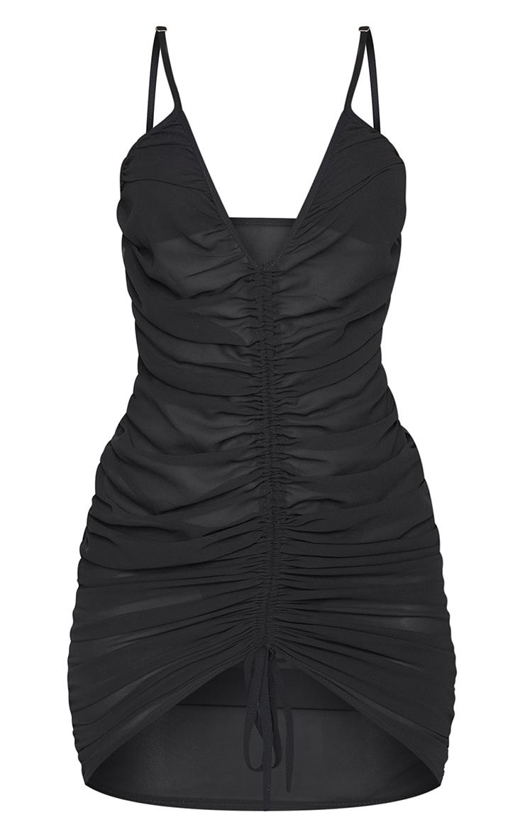 Black Ruched Chiffon Beach Dress 5