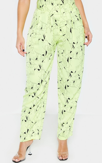 Neon Yellow Woven High Waisted Cigarette Trouser