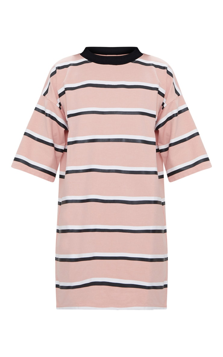 Pink Striped Oversized Boyfriend T Shirt Dress 3
