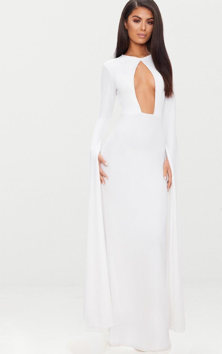 White Cut Out Detail Drape Sleeve Maxi Dress 4