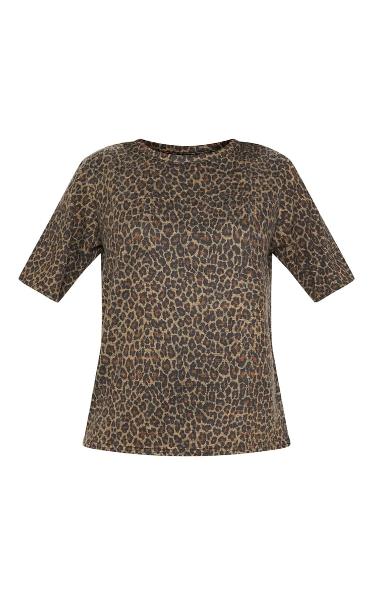 Brown Knitted Oversized Leopard Top  3